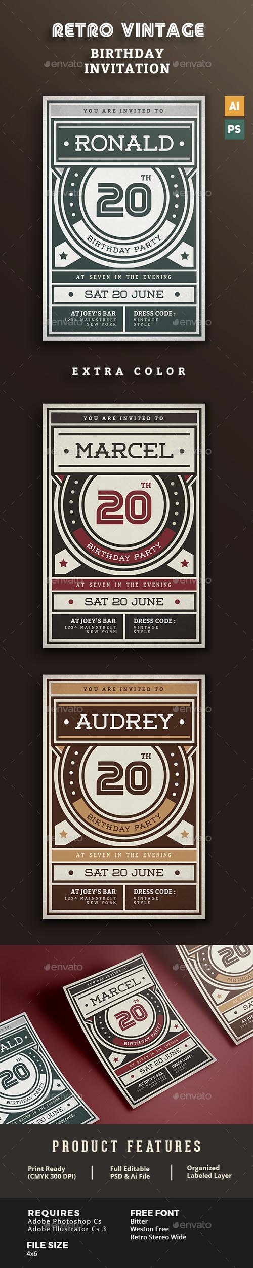 GR - Birthday Retro/Vintage Invitation 15816186
