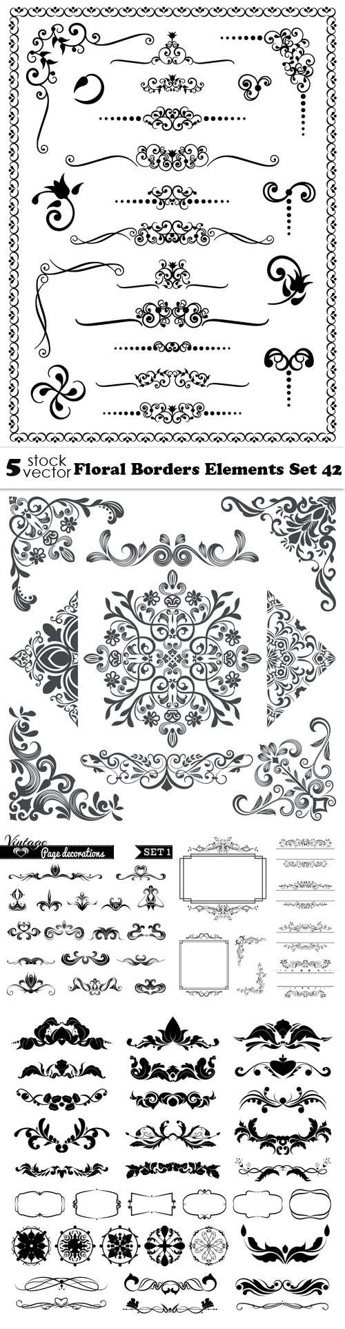 Vectors - Floral Borders Elements Set 42