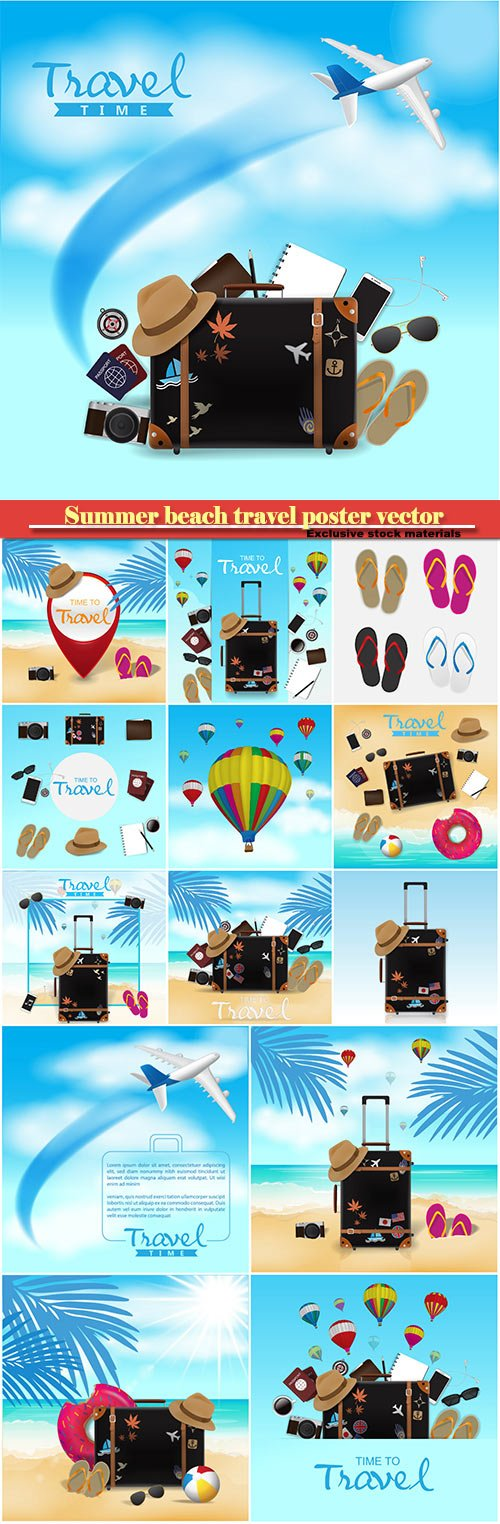 Summer beach travel poster vector