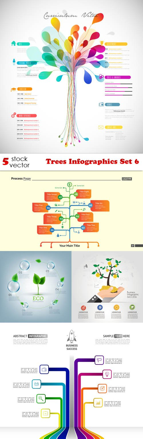 Vectors - Trees Infographics Set 6