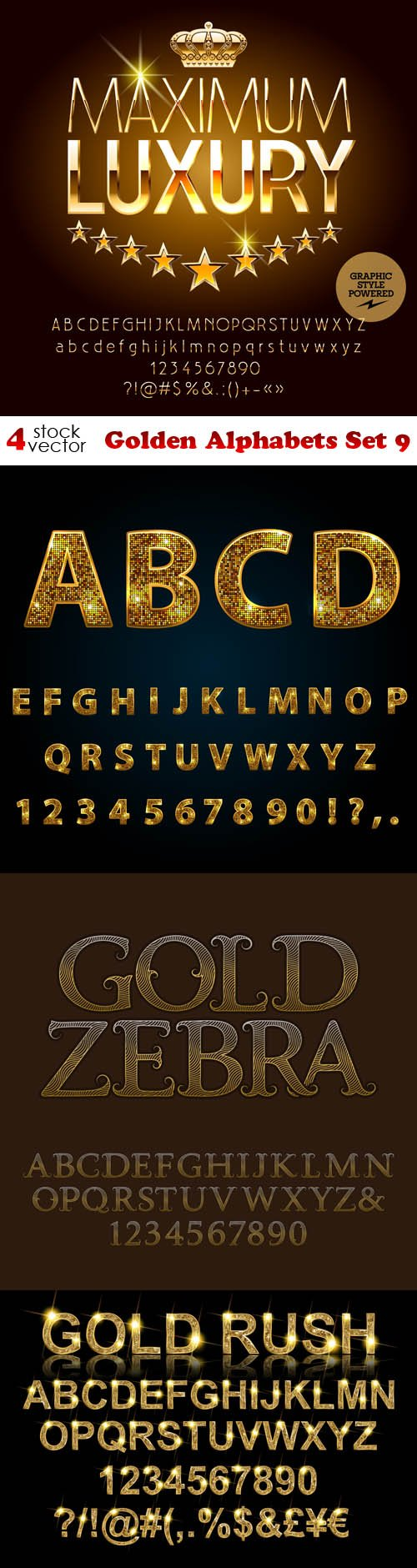 Vectors - Golden Alphabets Set 9