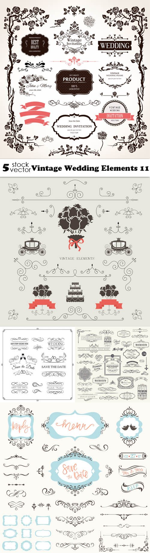 Vectors - Vintage Wedding Elements 11