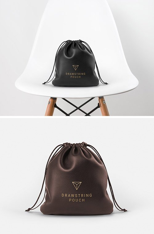 PSD Mock-Up - Leather Drawstring Pouch
