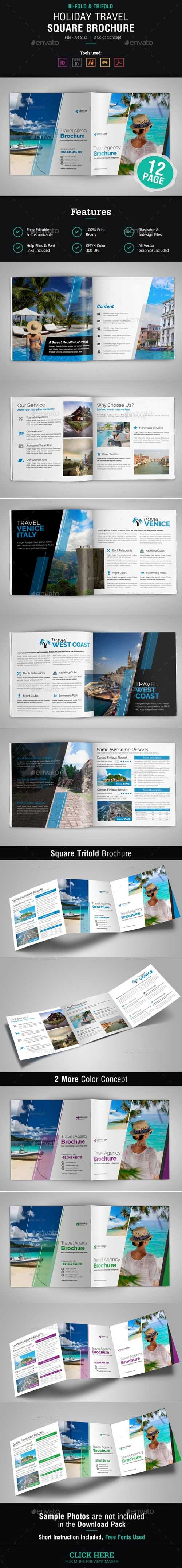 Graphicriver - Holiday Travel Square Bifold & Trifold Brochure 20178949