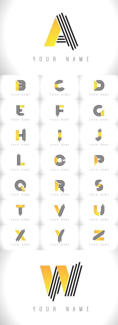 Vector Black Lines Letter Logos. Creative Line Letters Templates