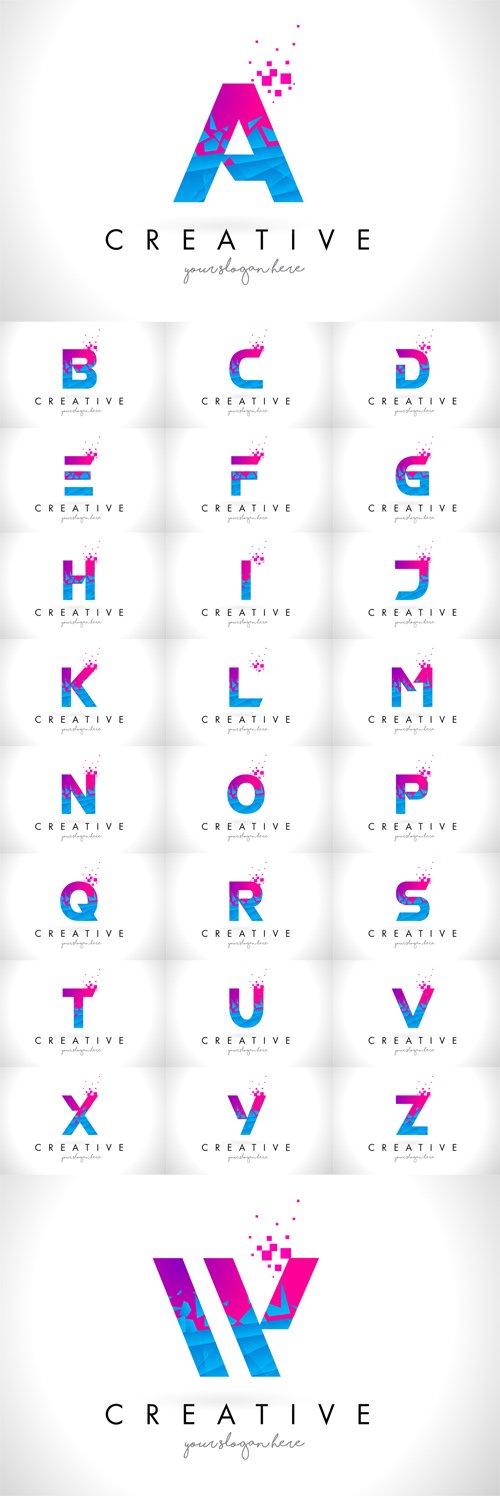 Vector Letter Logos with Shattered Broken Blue Pink Texture Design