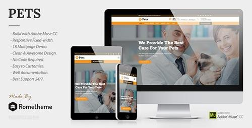 ThemeForest - PETS v1.0 - Pet Care, Shop, and Veterinary Muse Template - 19641988