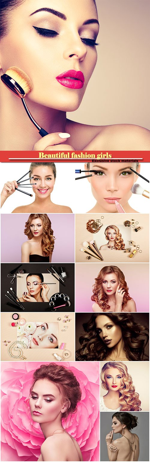 Beautiful fashion girls, makeup concept