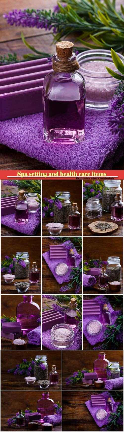 Spa setting and health care items, lavender handmade soap, body oil, bath salt, towel, on wooden board
