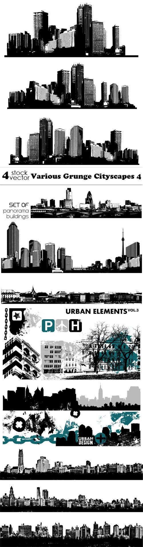 Vectors - Various Grunge Cityscapes 4
