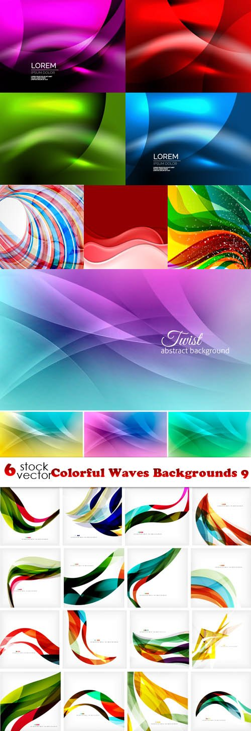 Vectors - Colorful Waves Backgrounds 9