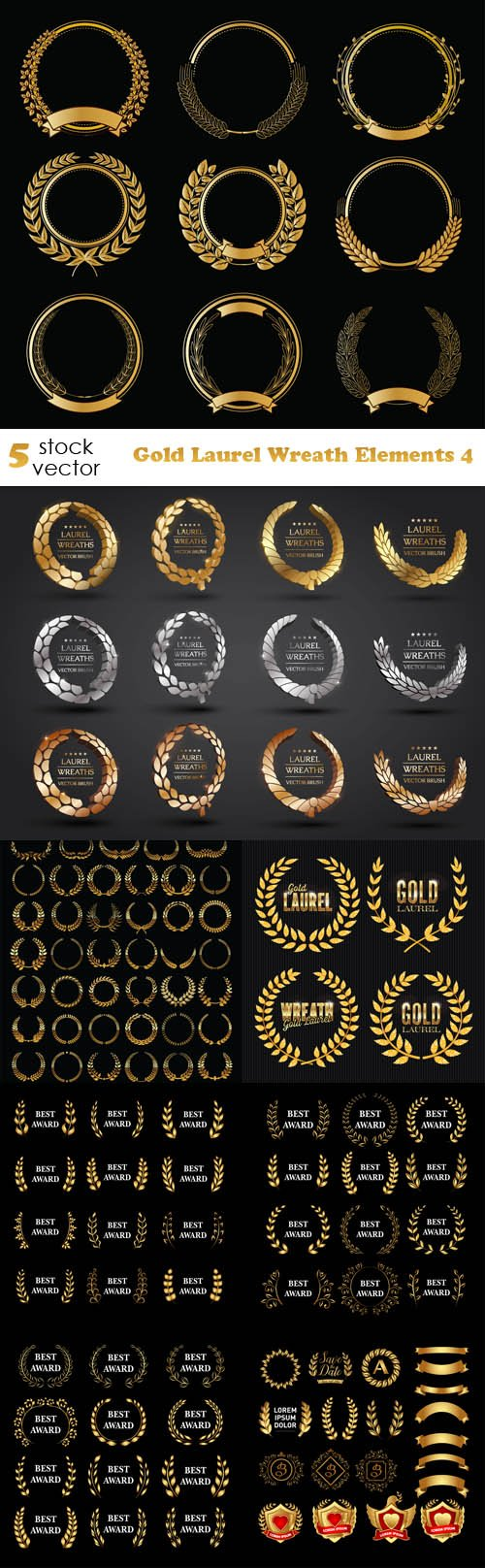 Vectors - Gold Laurel Wreath Elements 4