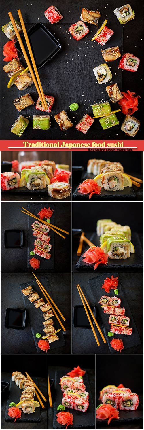 Traditional Japanese food sushi, rolls and sauce on a black background