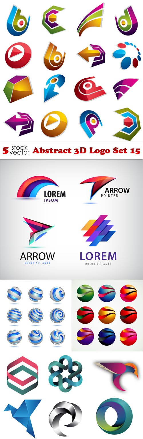 Vectors - Abstract 3D Logo Set 15