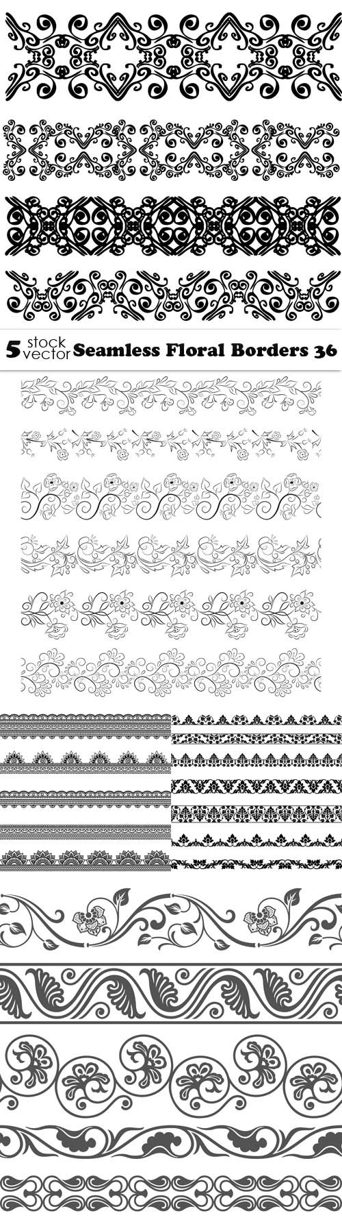 Vectors - Seamless Floral Borders 36