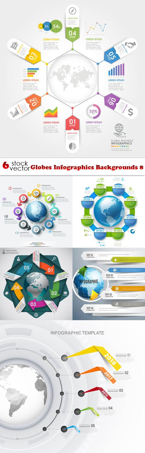 Vectors - Globes Infographics Backgrounds 8