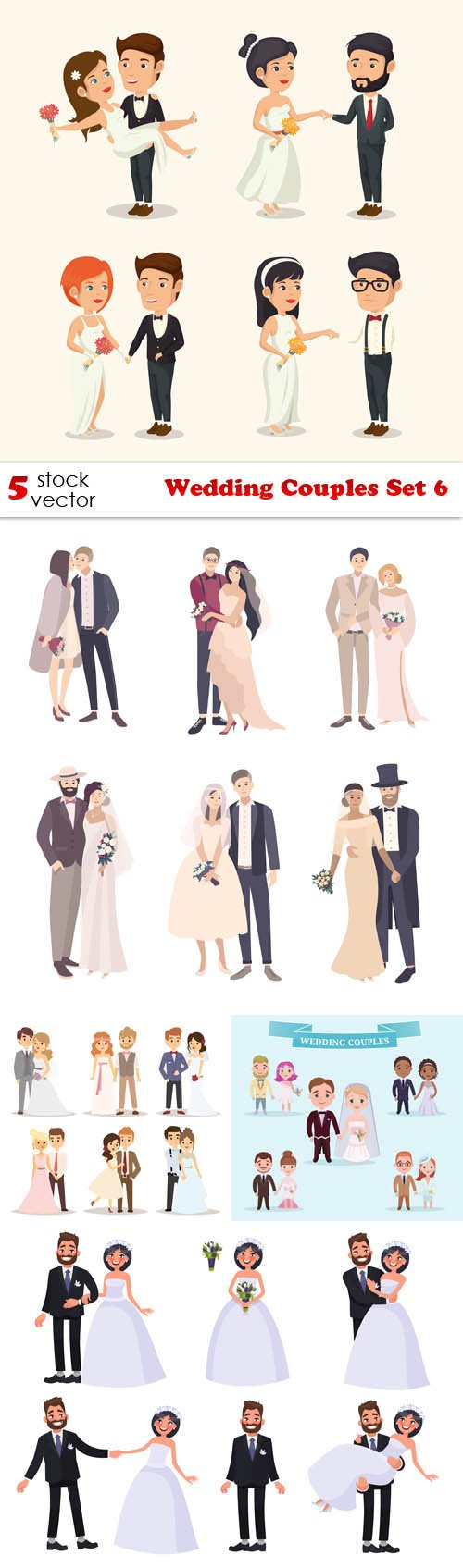 Vectors - Wedding Couples Set 6