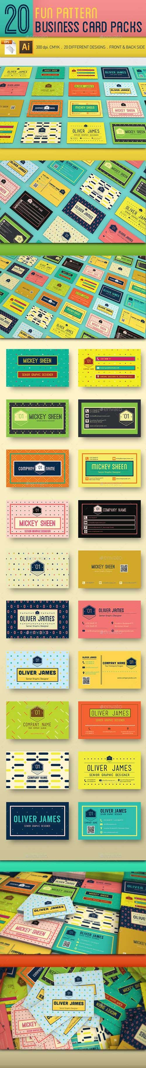 20 Fun Pattern Business Cards 11481552