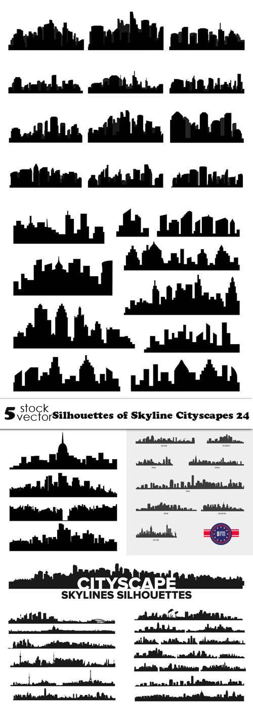 Vectors - Silhouettes of Skyline Cityscapes 24