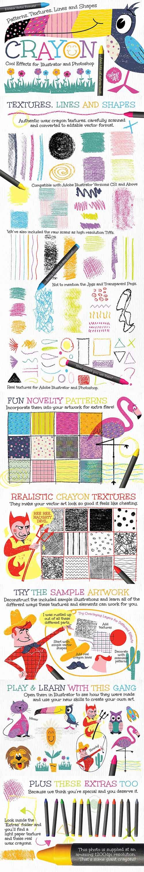Wax Crayon Patterns and Textures - CM 1409141