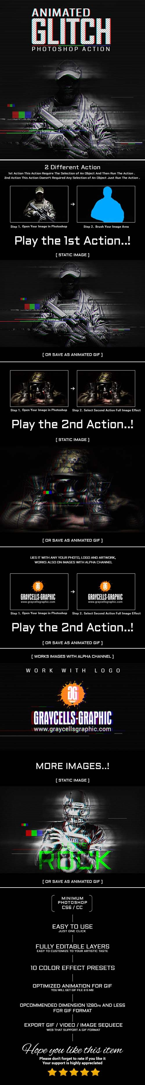 Graphicriver - Animation Glitch Photoshop Action 20187503