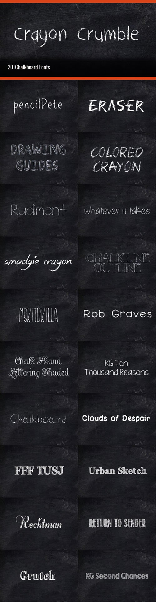 21 Chalkboard Fonts Collection