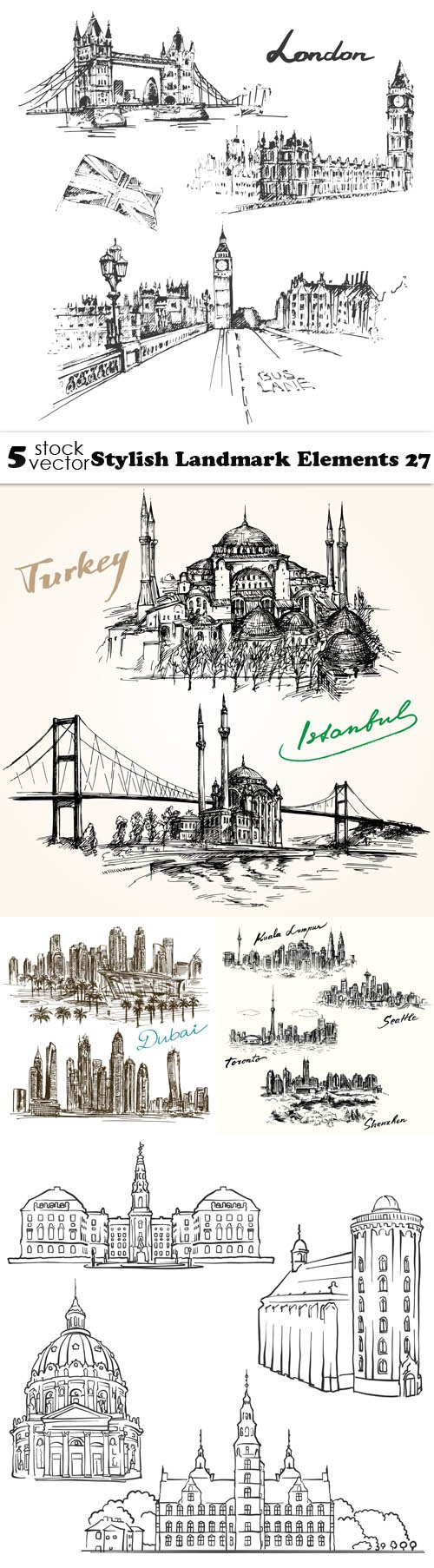 Vectors - Stylish Landmark Elements 27