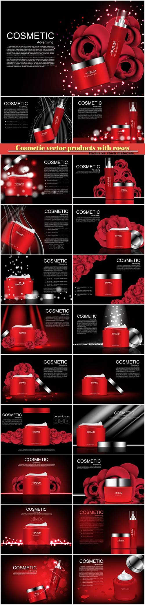 Cosmetic vector products with roses on dark background