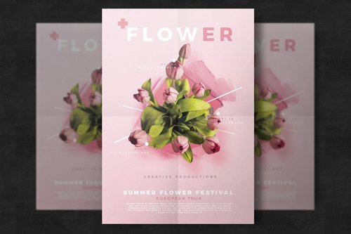 Floral flyer template PSD