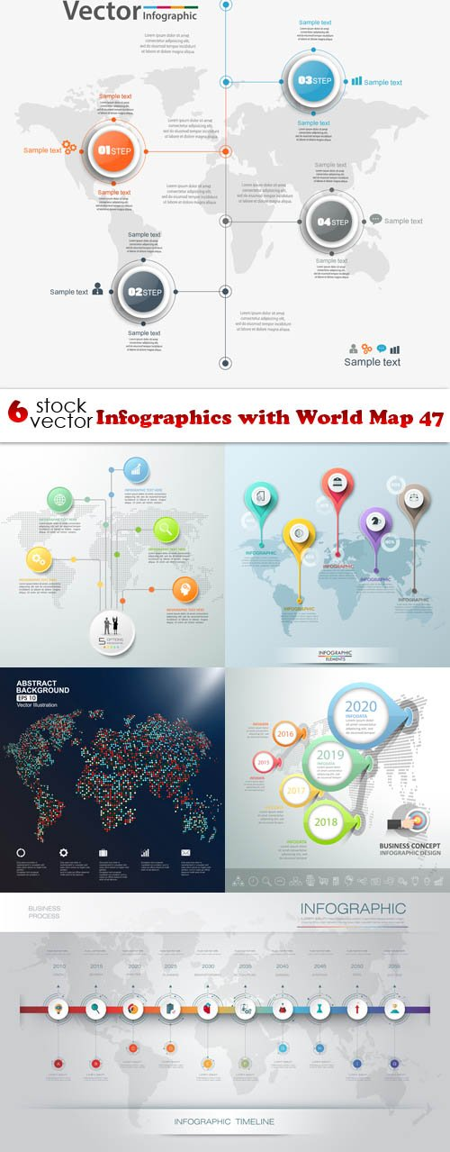 Vectors - Infographics with World Map 47