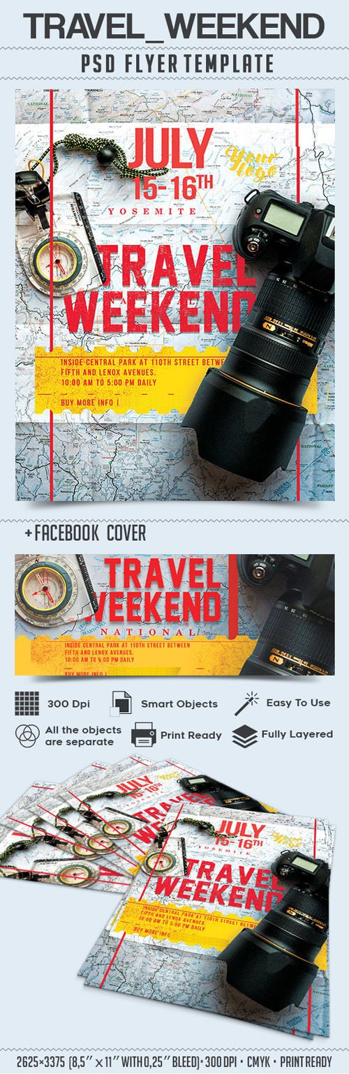 Travel Weekend Part 2 / Flyer PSD Template + Facebook Cover