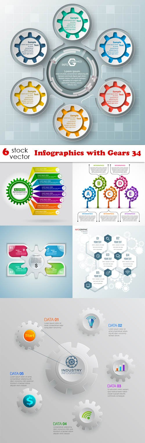 Vectors - Infographics with Gears 34
