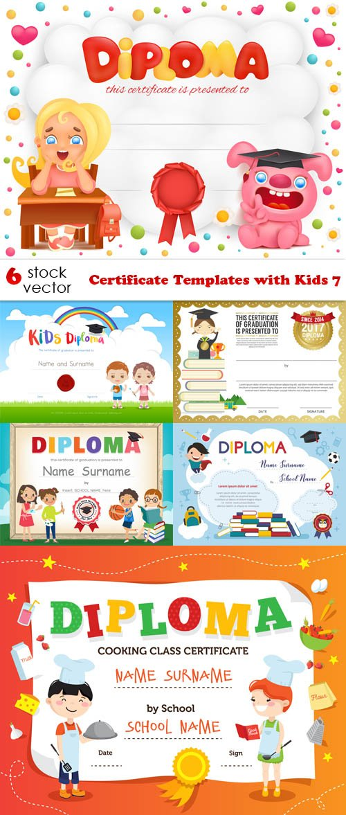 Vectors - Certificate Templates with Kids 7