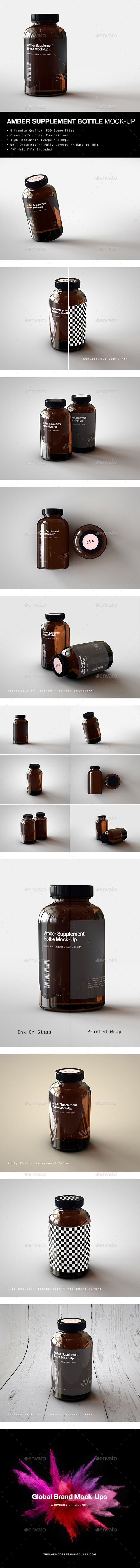 Amber Supplement Bottle | Vitamins Bottle Mock-Up 20280290