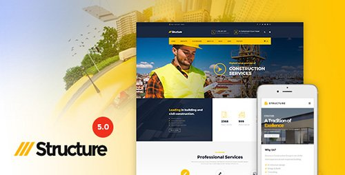 ThemeForest - Structure v5.0.1 - Construction WordPress Theme - 10798442