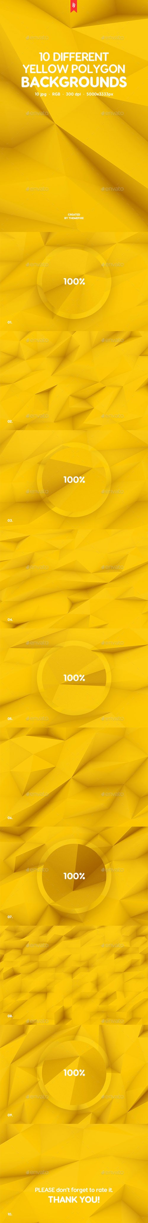 10 Different Yellow Polygon Backgrounds 20364620