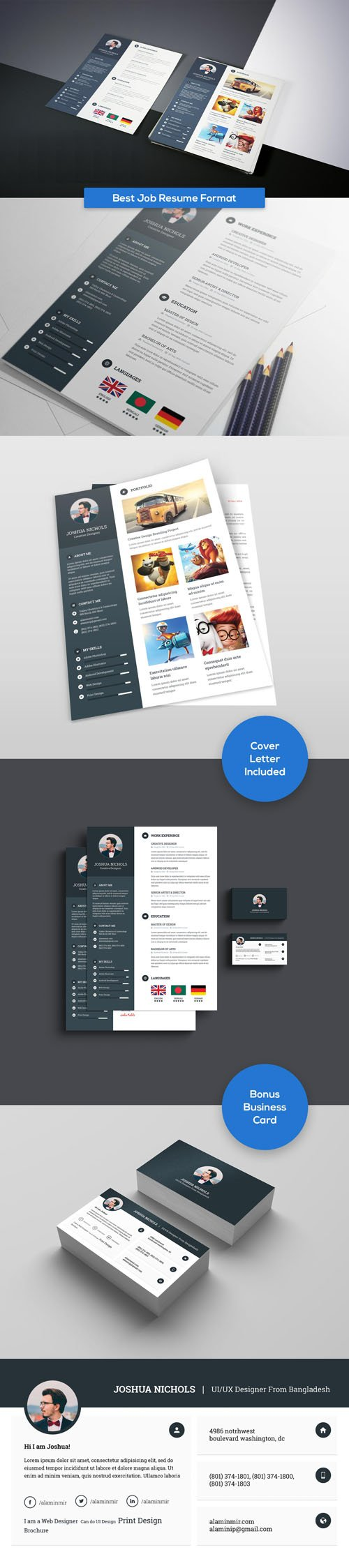 Best Job Resume Format PSD Templates with Business Card