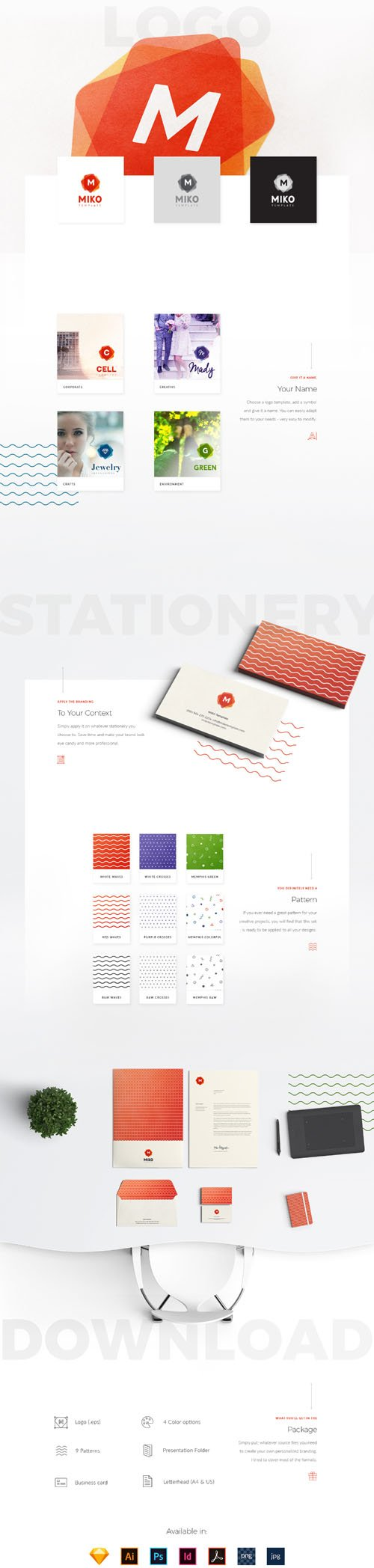 MIKO Logo Pattern Stationery Templates [AI/EPS/PSD/INDD/Sketch]