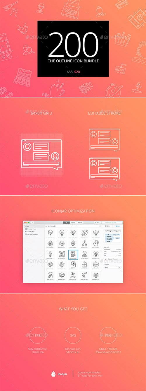 GraphicRiver - The Outline Icon Bundle 200 part 1 - 19697432