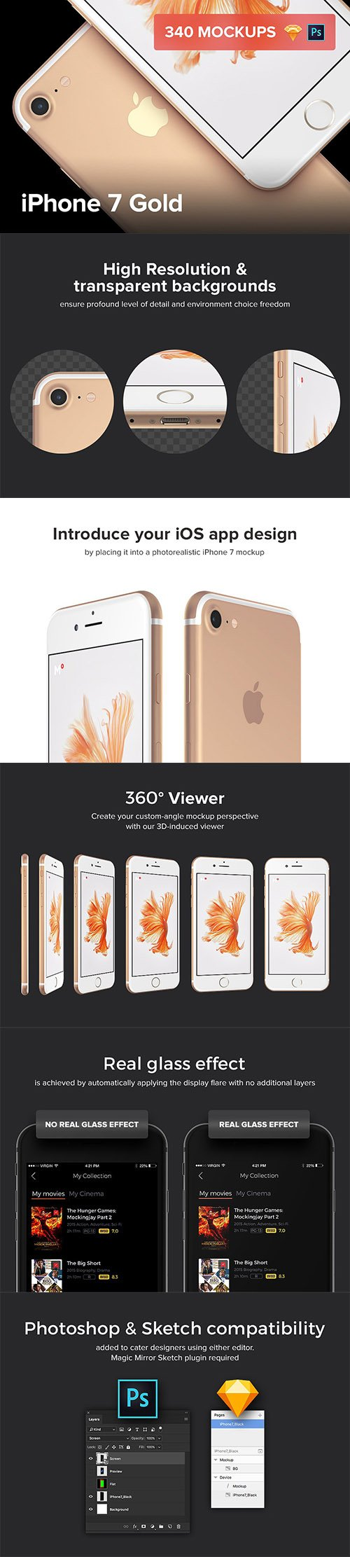 340 iPhone 7 Gold mockups - CM 1247524
