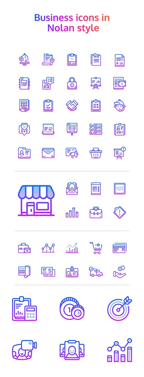 EPS, PNG, PDF, SVG Vector Web Icons - 48 Nolan Business Icons