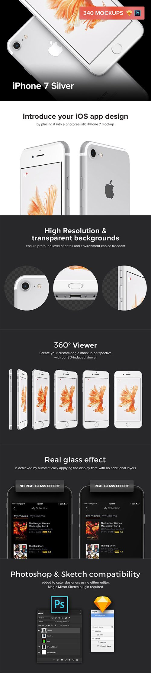 340 iPhone 7 Silver mockups - CM 1300406