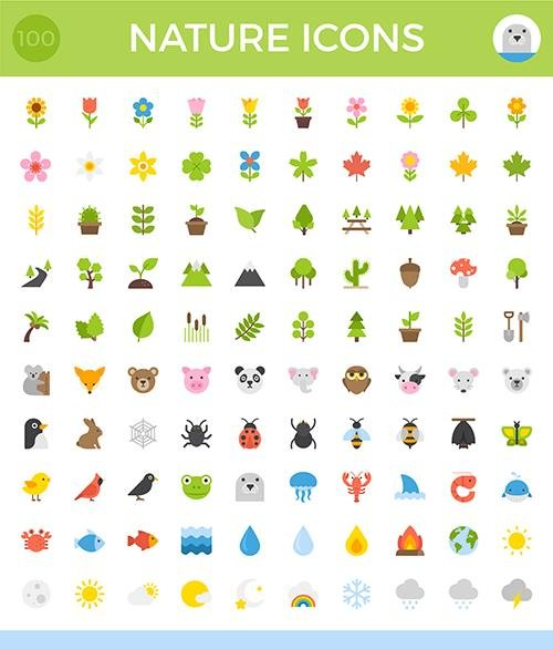AI, EPS, PNG, SVG Vector Icons - 100 Nature Icons