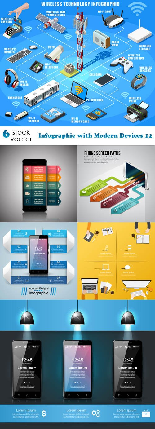 Vectors - Infographic with Modern Devices 12