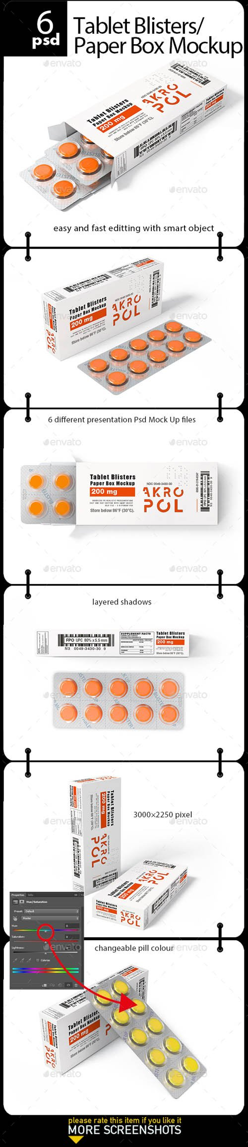 Tablet Blisters/ Paper Box Mockup 20332727