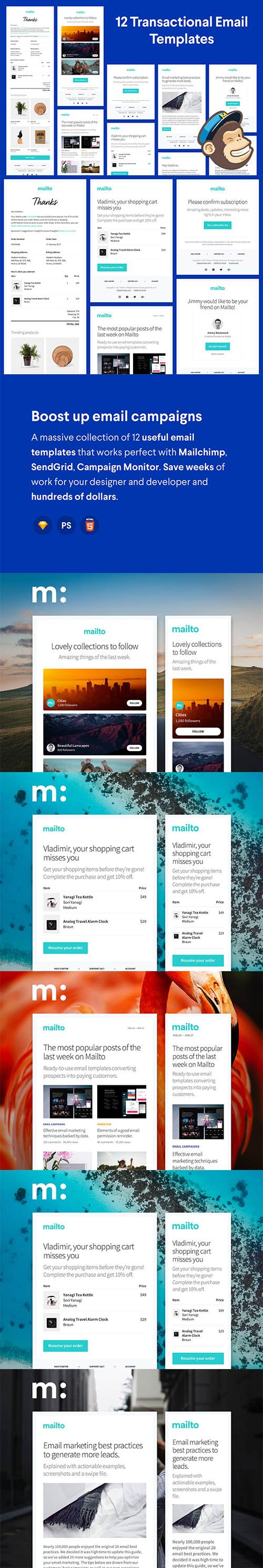 Mailto - 12 Email Templates Huge Bundle - CM 1337352