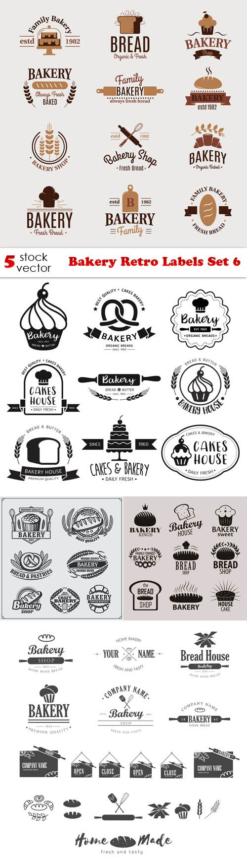 Vectors - Bakery Retro Labels Set 6