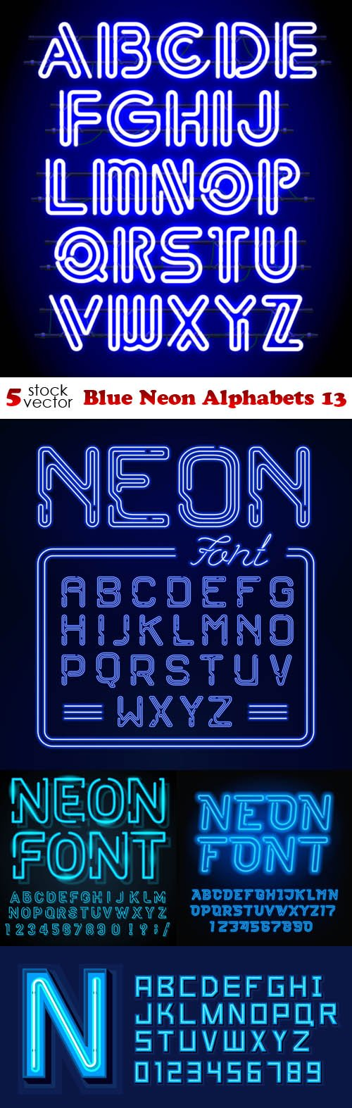 Vectors - Blue Neon Alphabets 13