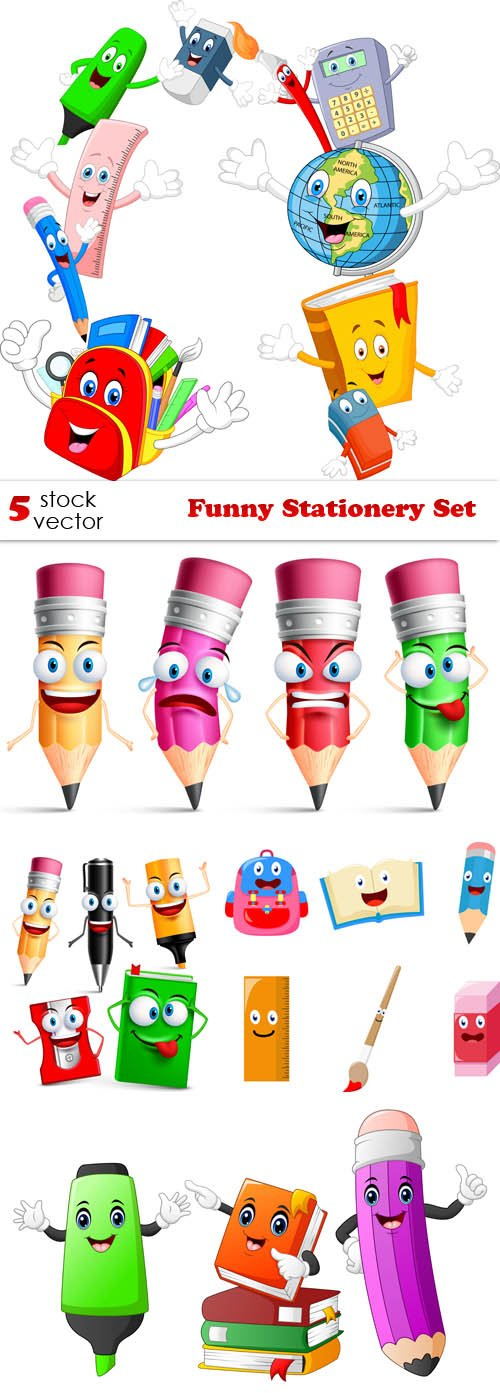 Vectors - Funny Stationery Set