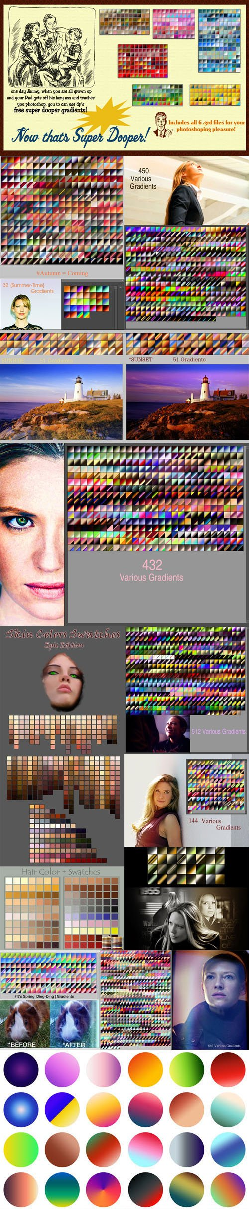 3000+ Awesome Photoshop Gradients (GRD) & Swatches (ACO) Collection
